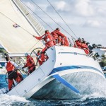Sailing racing crew on sailboat during regatta